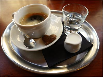 Picture Of Coffee And Glass Of Water
