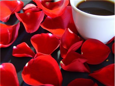 Picture Of Rose Petals And Cup Of Coffee