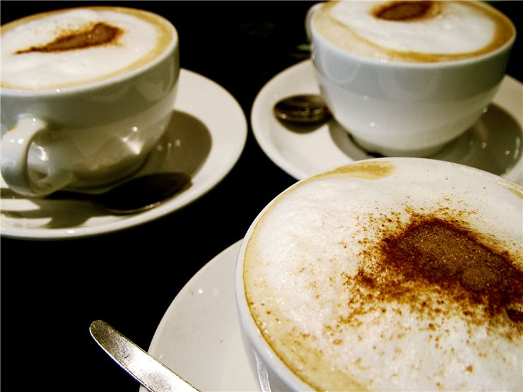 Picture Of Three Cups Of Cappuccino Coffee